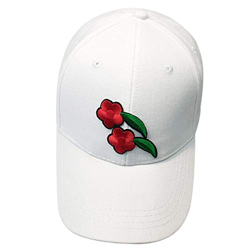 2019 New Womens Mens Gothic Caps Couple Applique Rose Printed Baseball Cap Unisex Snapback Hip Hop Flat Cotton Washed Hat (White2)
