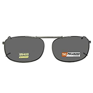 Rectangle Polarized Clipon Sunglasses (Pewter-Gray Polarized Lens, 56mm Width x 40mm Height)
