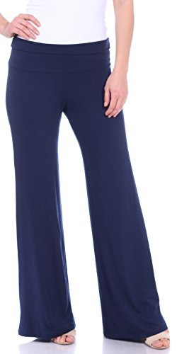ual Wide Leg Flare Comfy Palazzo Lounge Pants Made In USA Navy Small ()