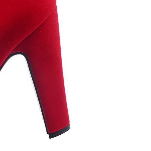 AllhqFashion Mujeres Esmerilado Puntera Redonda Tachonado Caña Baja Tacón Alto Botas Rojo
