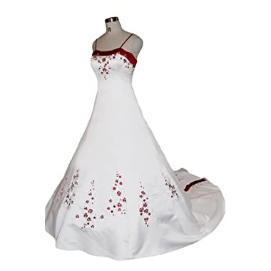 Sunvary Red and White Satin Embroidery Wedding Dresses Bridal Gowns Long - US Size 8- White