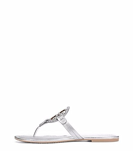Tory Burch Miller Metallic Sandal Womens (7, Embellished - Burch Tory Silver