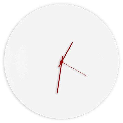 Minimalist White Clock 'Whiteout Red Circle Clock' Contemporary Metal Wall Clocks, Monochrome Modern Decor - 16in. White w/Red Hands