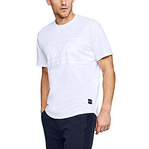 Under Armour Men's Graphic Mesh Tee, White (100)/White, Large (Mens Under Armour Graphic Tees)