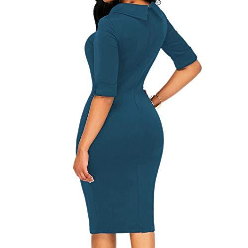 Fiesta Zolimx Vestidos Fiesta Largas de Maxi Playa Faldas Corta Elegante de Vestidos Casual Mangas Vestir Azul Verano Mujer 2018 para qFZxpwp