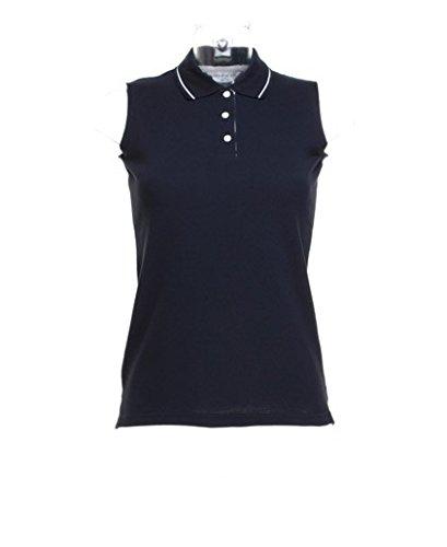 Ärmelloses Piqué Poloshirt, Farbe:Navy/White;Größe:L