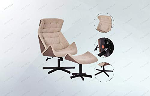 COLIDYOX>New Executive Chair Lounge Leisure Chair Adjustable Height Swivel w/Ottoman, 360 degree swivel, Unique concave design, Strong metal frame, durable and stable, Pneumatic adjustable height with