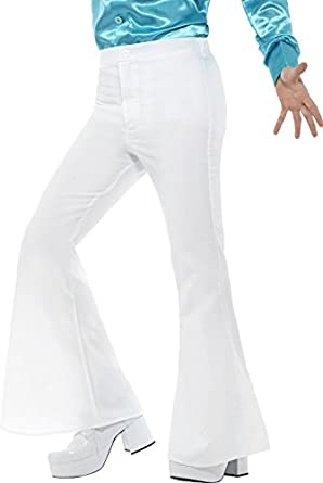 Men's Vintage Pants, Trousers, Jeans, Overalls Mens 70s Groovy Disco Fever Flared White Pants Costume $22.79 AT vintagedancer.com