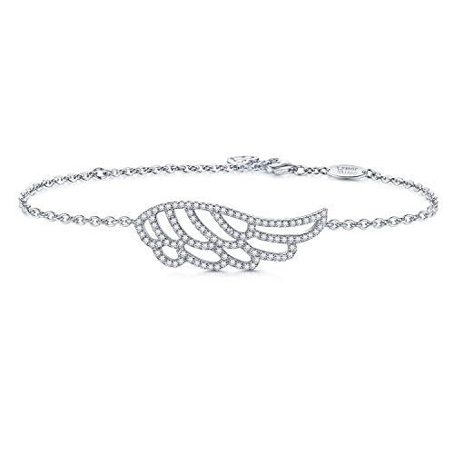 AmorAime 925 Sterling Silver Guardian Angel Blessing Bracelet Charm Adjustable Sweet Love Bracelet for Women Graduation Gift for Birthday (Feather Bracelet)