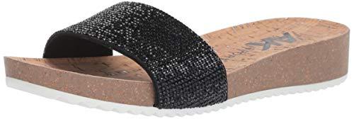 Anne Klein Women's QTEE Slide Sandal, Black Fabric 8 M US