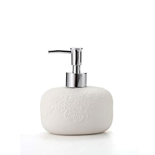 White Hand Soap Dispenser - Dish Soap Dispenser for Bathroom Kitchen Countertop Ceramic Bathroom Soap Pump Lotion & Liquid Bath Soap Dispenser with Embossed Design