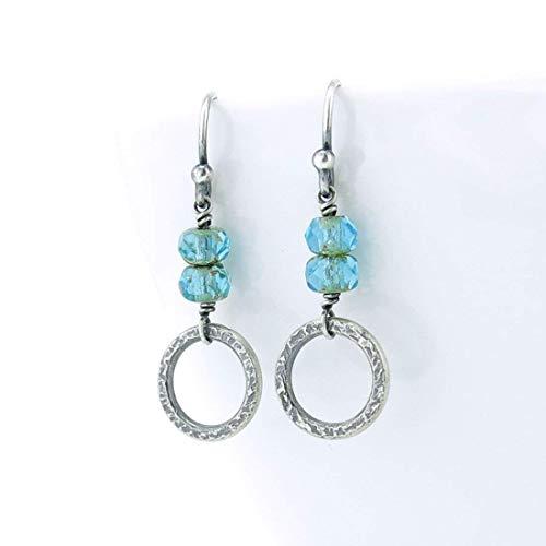 Tiny Silver Aqua Glass Bead Drop Hoop Earrings Gift for Women - Ava