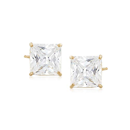 - Ross-Simons 4.00 ct. t.w. Princess-Cut CZ Stud Earrings in 14kt Yellow Gold