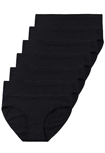 ALTHEANRAY Woman's Cotton Underwear High Waist Panties Tummy Control Briefs Underpants 6-Pack(1002XL-BLACK) (100 Cotton Panties Black)