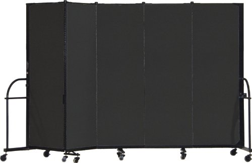 Screenflex Heavy Duty Portable Room Divider (HFSL605-DX) 6 Feet High by 9 Feet 5 Inches Long, Designer Black Fabric by Screenflex