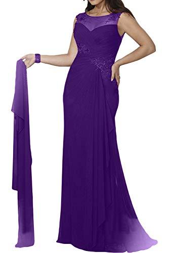 Meerjungfrau Brautmutterkleider Ballkleider Abendkleider Lila Figurbetont Dunkel Marie Braut Damen Mit La Stola wTq6HtX
