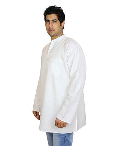 Loose Fit Airy confortable Kurta, Robes d'été pour les hommes, blanc cassé, taille S tour de poitrine de 38 pouces