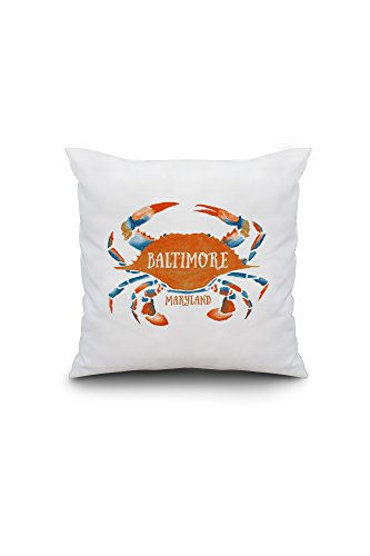 Baltimore, Maryland - Blue Crab - Blue and Orange Watercolor (16x16 Spun Polyester Pillow, Custom Border) (Pottery Barn Maryland)