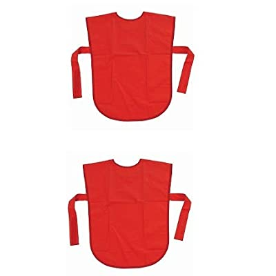 School Smart Vinyl Art Smock Apron, 22 x 16 Inches, Red (Pack of 2): Toys & Games