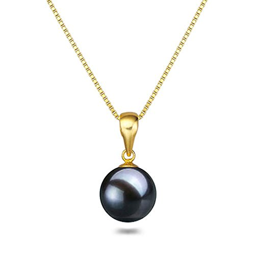 (Black Japanese AAAA 8mm Freshwater Cultured Pearl Pendant Necklace 16 Inch Solitaire Necklace Pendant )