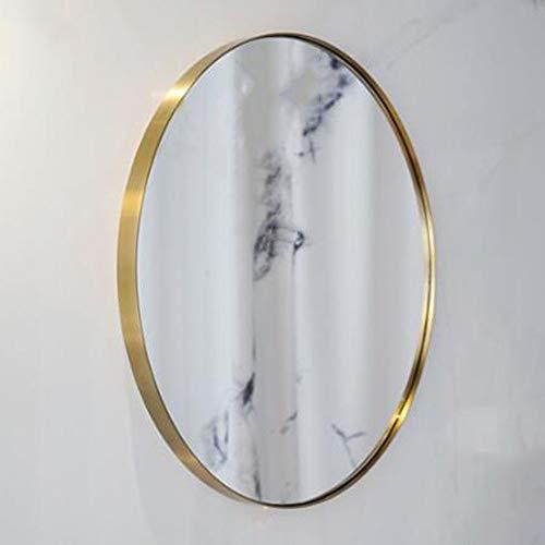 Bathroom mirror JWZQ Round Mirror, (80CM), Bedroom, Living Room, Wall-Mounted Brass Golden -