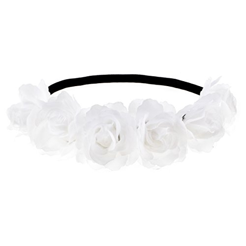 Love Sweety Rose Flower Wreath Headband Floral Crown Garland Halo for Wedding HH14 (7# White) ()