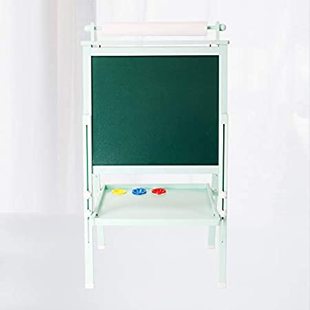 Paint Cups for Writing Kids Beebeerun 3 in 1 Wooden Kids Easel Double-Sided Magnetic Drawing Board White /& Chalkboard Dry Easel with Drawing Axis Bonus Magnetics Numbers Wood Color Paper Roll