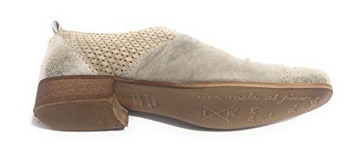 Clocharme Pantofola Derby - Zapatillas de estar por casa de Piel para mujer gris plateado