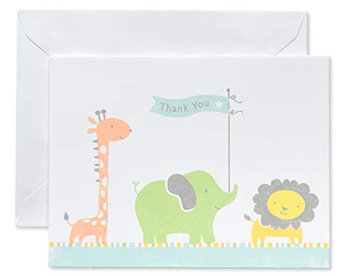 American Greetings Giraffe, Elephant and Lion Baby Thank-You Cards and White Envelopes, 50-Count