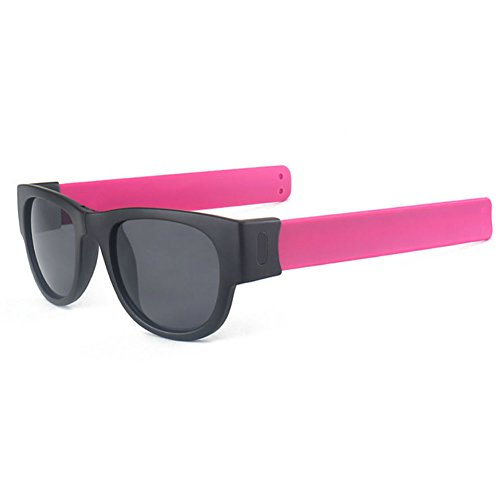 Best-topshop Slap Folding Polarized Sunglasses Creative Wristband Bracelet Bands for Driving Outdoor Sports, Hot Pink - Sunglasses Slap