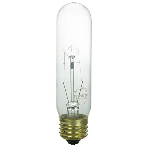 Sunlite 60T10/CL Incandescent 60-Watt, Medium Based, T10 Tubular Bulb, Clear - Cl Tubular Lamp