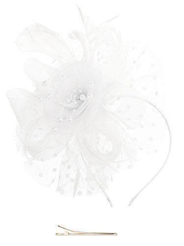 Fascinators Hat for Women Tea Party Headband Kentucky Derby Wedding Cocktail Flower Mesh Feathers Hair Clip (1-White) -