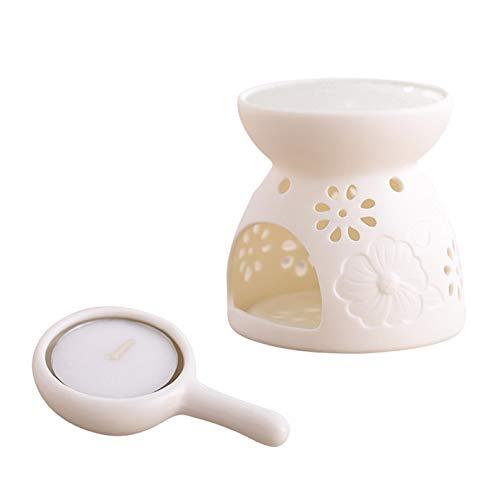 - Essential Oil Burner Ceramic Scented Candle Wax melt Warmer Light Holder Aromatherapy Aroma Diffuser Tarts Fragrance for Spa Yoga Meditation Living Room Bedroom Bathroom Holiday Home Decoration, White