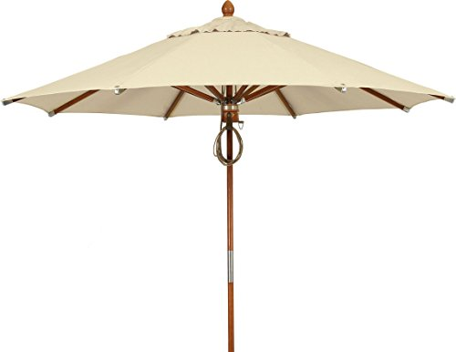 FiberBuilt Umbrellas Wood Umbrella with Marine Grade Sunbrella Fabric Canopy & Light Mahogany Pole, 11', Forest Green (Fiberbuilt Beach Umbrella)