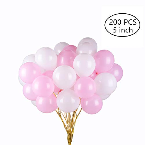 Tim&Lin 5 inch Pink and White Premium Latex Balloons - Party Decoration Supplies Balloons - Great for Wedding, Birthday, Bridal/Baby Shower, Water Fights, or Any Parties and Events, Pack of -