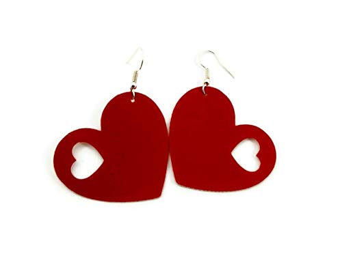 Red Heart Vegan Faux Leather Earrings Teardrop Lightweight for Women and Girls