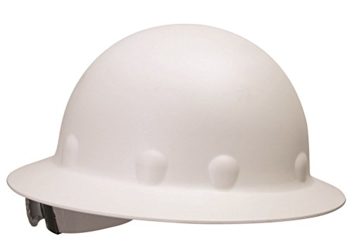 Fibre Metal P1 Roughneck Full Brim Injection Molded Fiberglass Hard Hat with Ratchet Suspension, White
