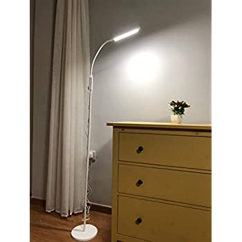 White Led Floor Lamp With Remote Amp Touch Control Albrillo Reading Lamps For Living Room
