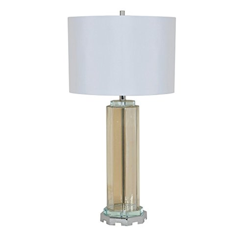 Octagonal Glass Table Lamp with Metal (Octagonal Lamp Table)
