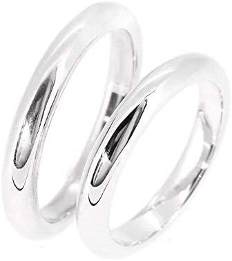 [刻印無料] 幅3mm シンプル 甲丸 細身 シルバー 925 ペアリング 5~21号 (レディース9号とメンズ17号) 指輪 刻印 名入れ代込み