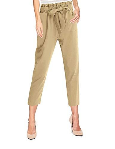 Nrthye Women's Elastic Waist Comfy Bow Tie Hem Crop Skinny Pants with Pockets (Comfy Bow)