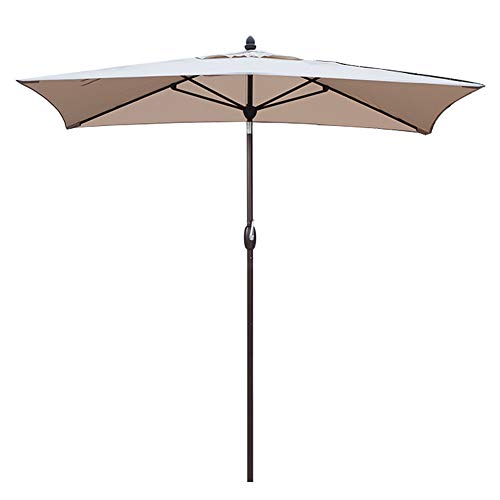 (SORARA Patio Umbrella Rectangular Outdoor Market Table Umbrella with Push Button Tilt&Crank&Umbrella Cover, 6.5' x 10', Antique Beige)