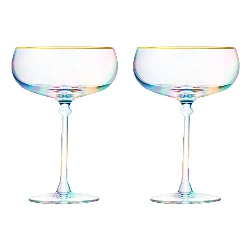 Root7 Rainbow Martini Cocktail Glass | Tinted Borosilicate Glasses, Perfect Martini Gift, Set of 2, 9oz -