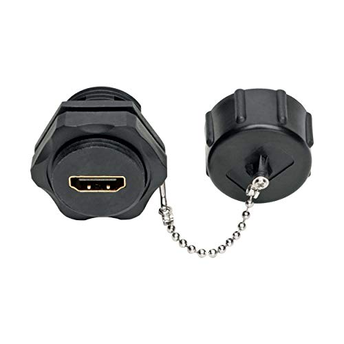 Tripp Lite 4K HDMI Coupler (F/F), Industrial Coupler, Wall Plate Coupler, 4K @ 60 Hz, IP67 Rated, Dust Cap, Black (P569-000-FF-IND)