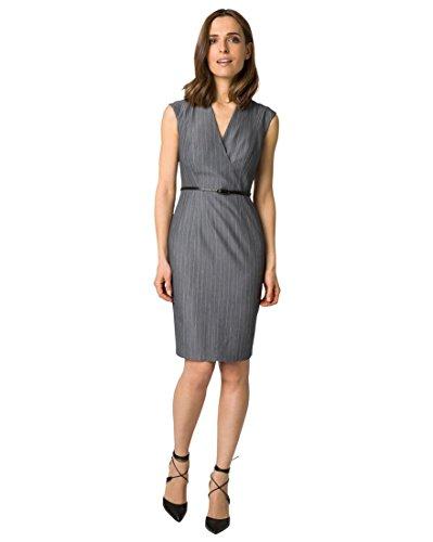 LE CHÂTEAU Women's Pinstripe V-Neck Shirtdress,S,Grey/Off White - Chateau Le Pin