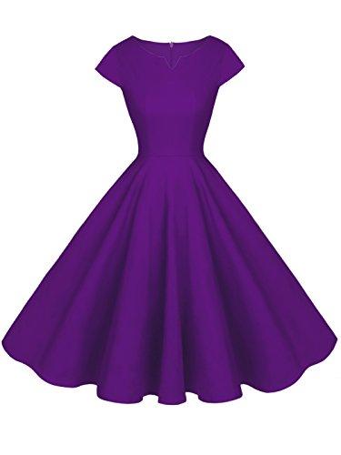 FAIRY COUPLE Robe de Vintage Rockabilly Cap Manche pour Le Bal Crmonie DRT019 Violet