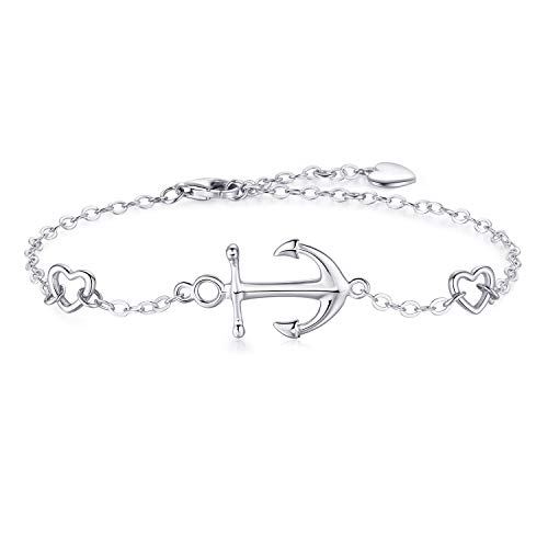 - Essie Odila Womens Silver Bracelet Anchor Jewelry in 18K White Gold Plated Sterling Silver 925 Good Luck Charm Bracelet Gifts for Women Present for Mother's Day