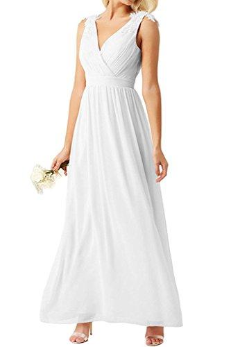 Brautmutterkleider Chiffon mit Abendkleider Applikation Braut Promkleider La Weiß Rosa Lang Spitze Perlen Marie WFfnxf