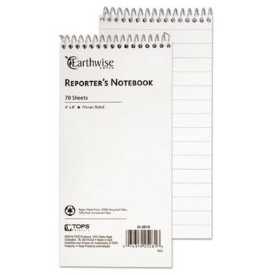Reporter Spiral Notebook, Pitman Rule, 4 x 8, White, 70 Sheets [Set of 3]