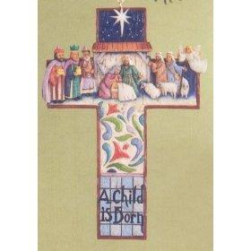 Jim Shore Heartwood Creek Cross Nativity Scene Stone Resin Hanging Ornament, -